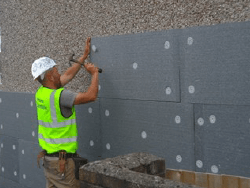 External wall insulation being installed
