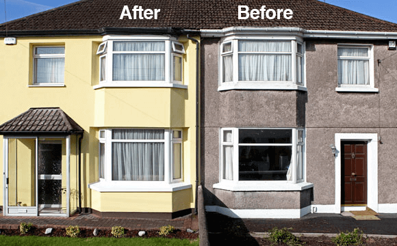 Before and after external wall insulation has been installed