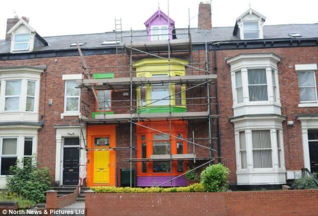 Multi-coloured House in Garish Colours
