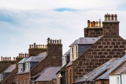 Street filled with chimneys.s.